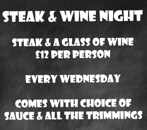 Steak & Wine Night at the Greyhound Pub, Midhurst, West Sussex